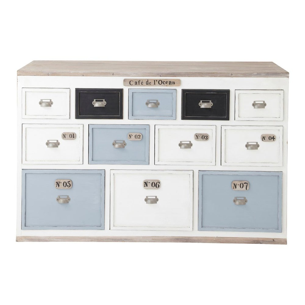 Comptoir multi tiroirs meuble de m tier en bois blanc l for Meuble multi tiroirs bois