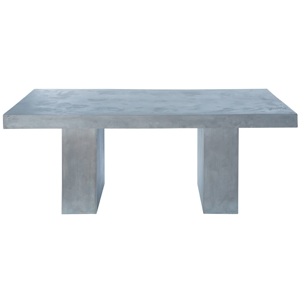 Concrete effect magnesia table in light grey w 200cm for Table exterieur imitation beton