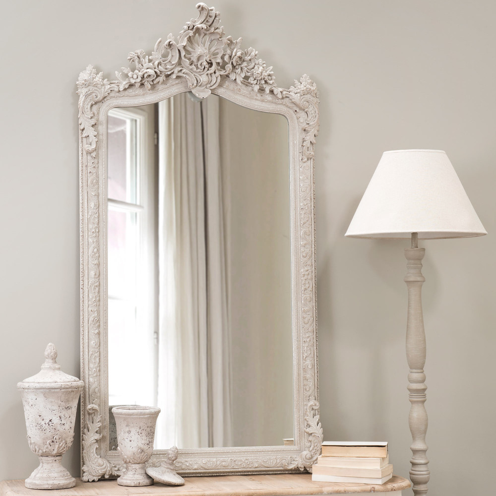 Conservatory resin mirror grey h 153cm maisons du monde for Baroque resin mirror