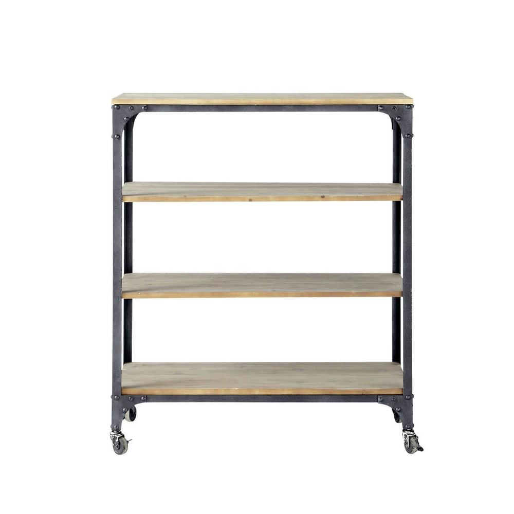 Consola industrial con ruedas de metal y madera antracita - Consola industrial ...