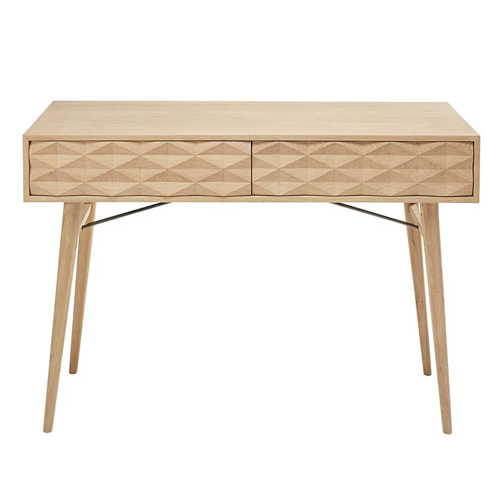 Console 2 tiroirs en ch ne massif keops maisons du monde - Console depliable en table ...