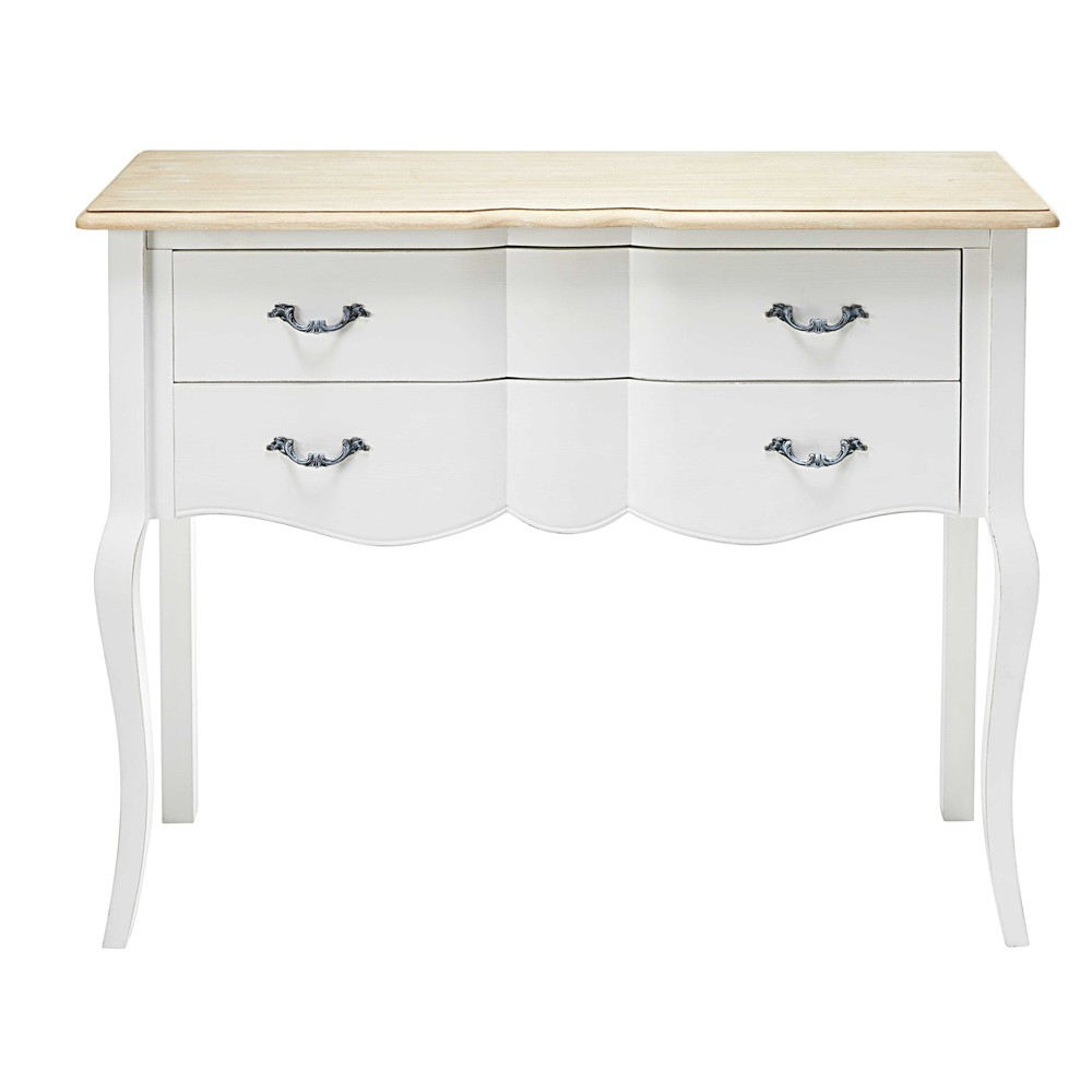 console 2 tiroirs en pin blanc et paulownia emilie maisons du monde. Black Bedroom Furniture Sets. Home Design Ideas