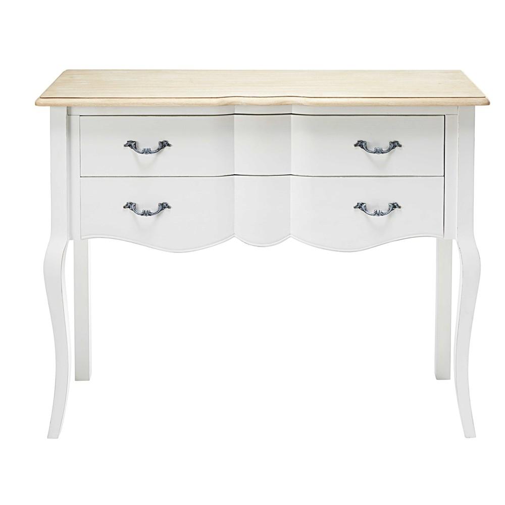 Console 2 tiroirs en pin blanc et paulownia emilie for Console maisons du monde