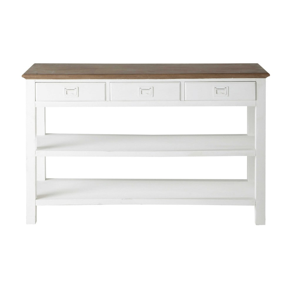 console en bois de paulownia blanche l 130 cm leandre maisons du monde. Black Bedroom Furniture Sets. Home Design Ideas