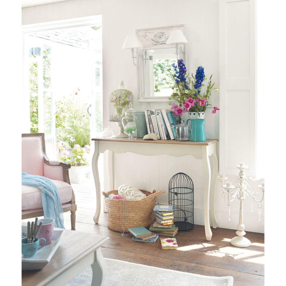 Consolle bianca in legno l 110 cm l ontine maisons du monde for Consolle bianca