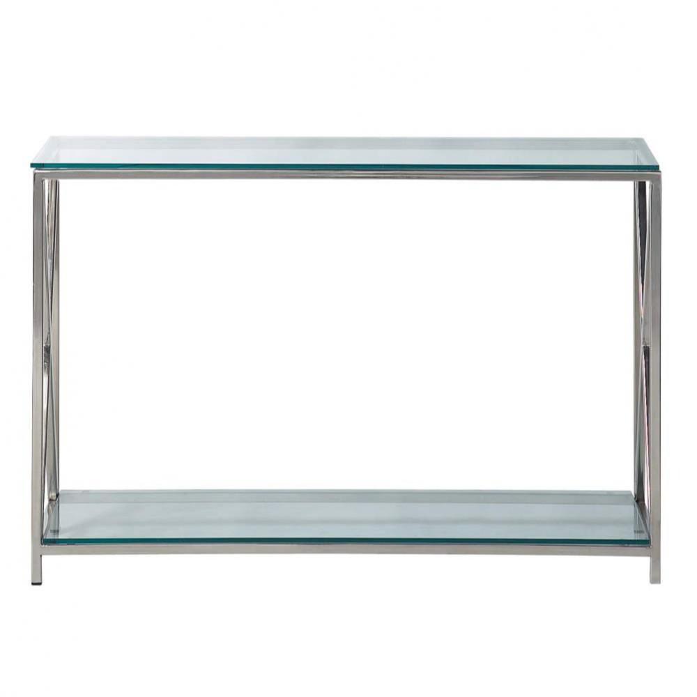 Consolle in acciaio e vetro cromato l 119 cm helsinki for Consolle in vetro