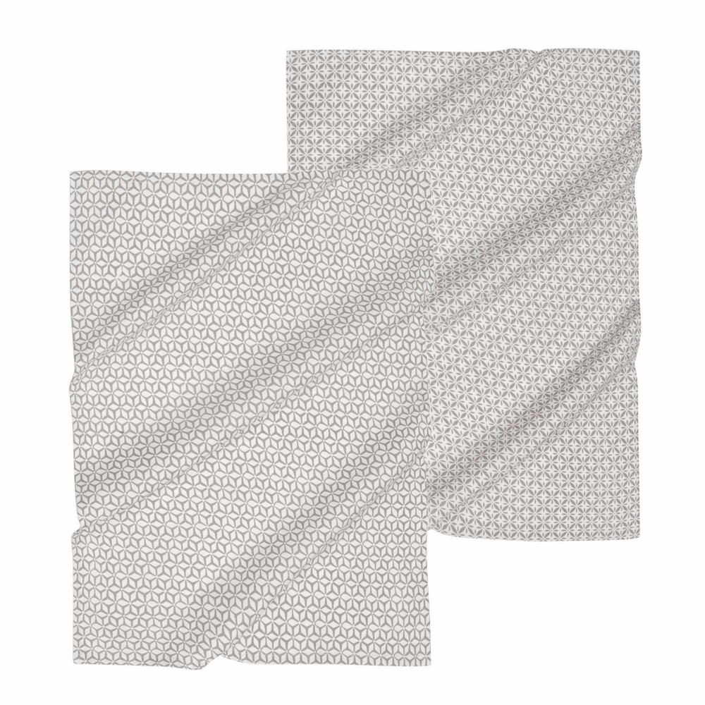 cook enjoy 2 grey cotton tea towels maisons du monde. Black Bedroom Furniture Sets. Home Design Ideas