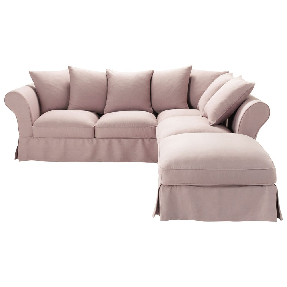 Corner Sofa Bed In Vintage Mauve Linen Seats 6 Roma