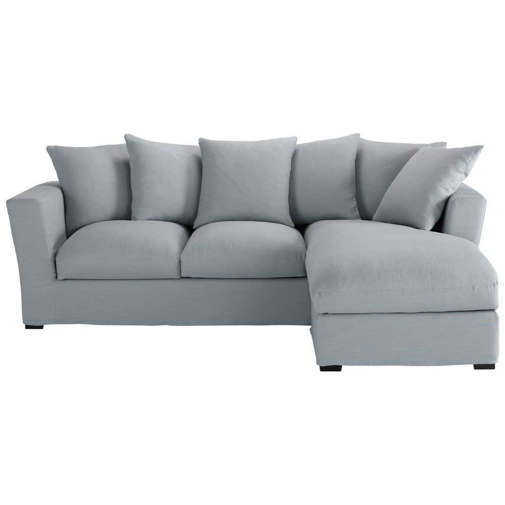 Corner sofa bed right daybed in blue grey linen seats 5 for Blue gray sofa
