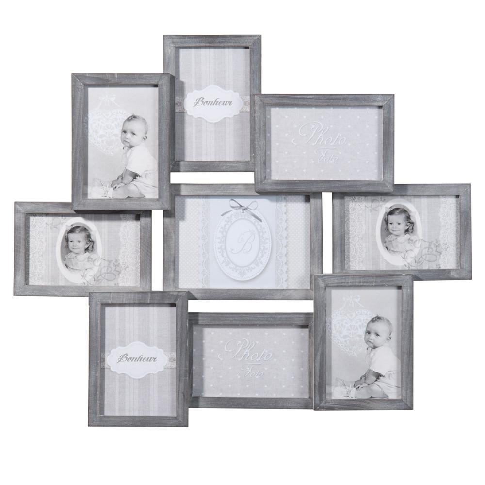 cornice foto grigia a 9 immagini in legno 50 x 58 cm relief maisons du monde. Black Bedroom Furniture Sets. Home Design Ideas