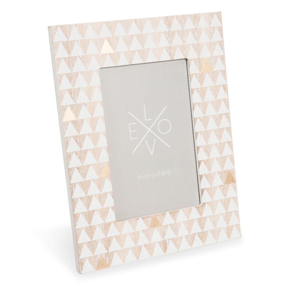 Cornice foto in legno bianca 9x14 cm anji maisons du monde for Cornice bianca foto