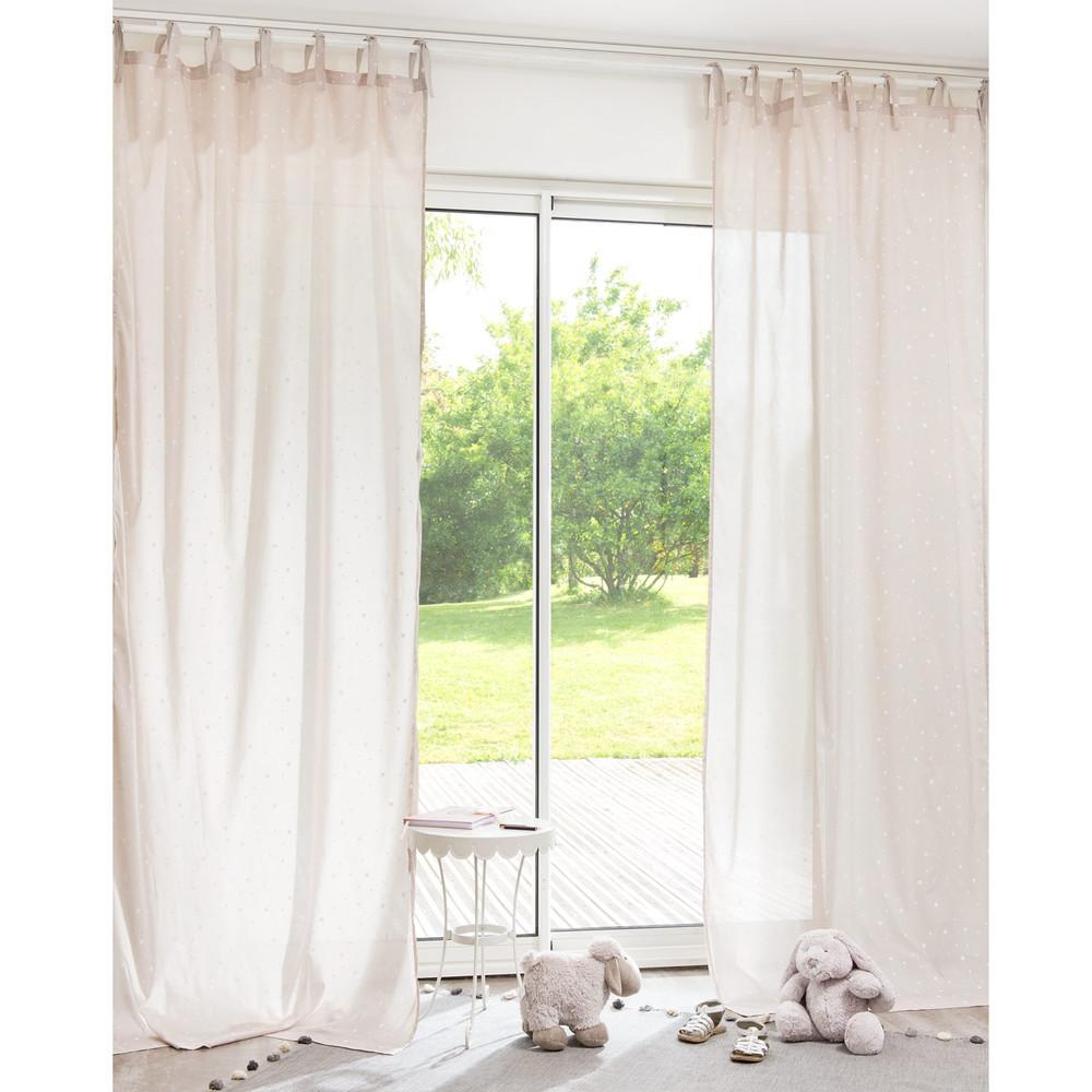 Cortina con lazos de algod n beis 102 250 cm toile for Lazos para cortinas