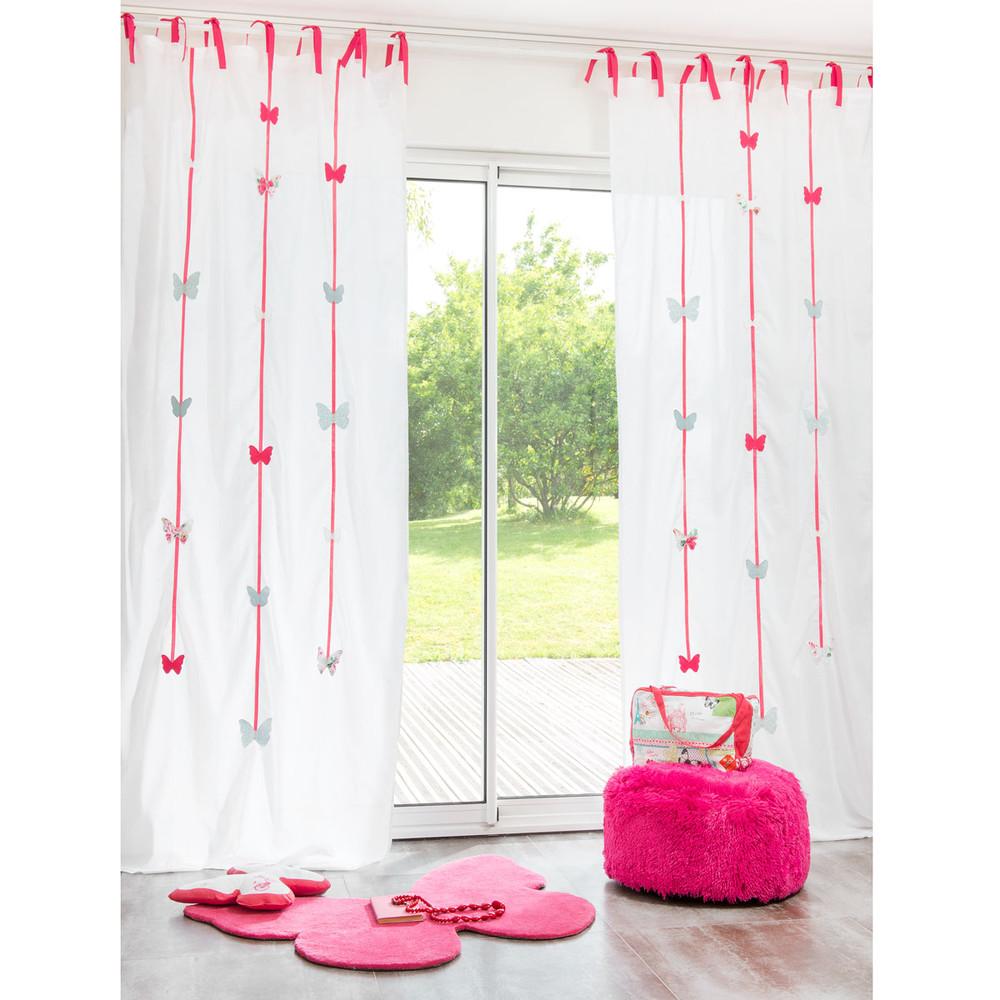 Cortina con lazos de algod n blanca y rosa 105 250 cm for Tende con laccetti