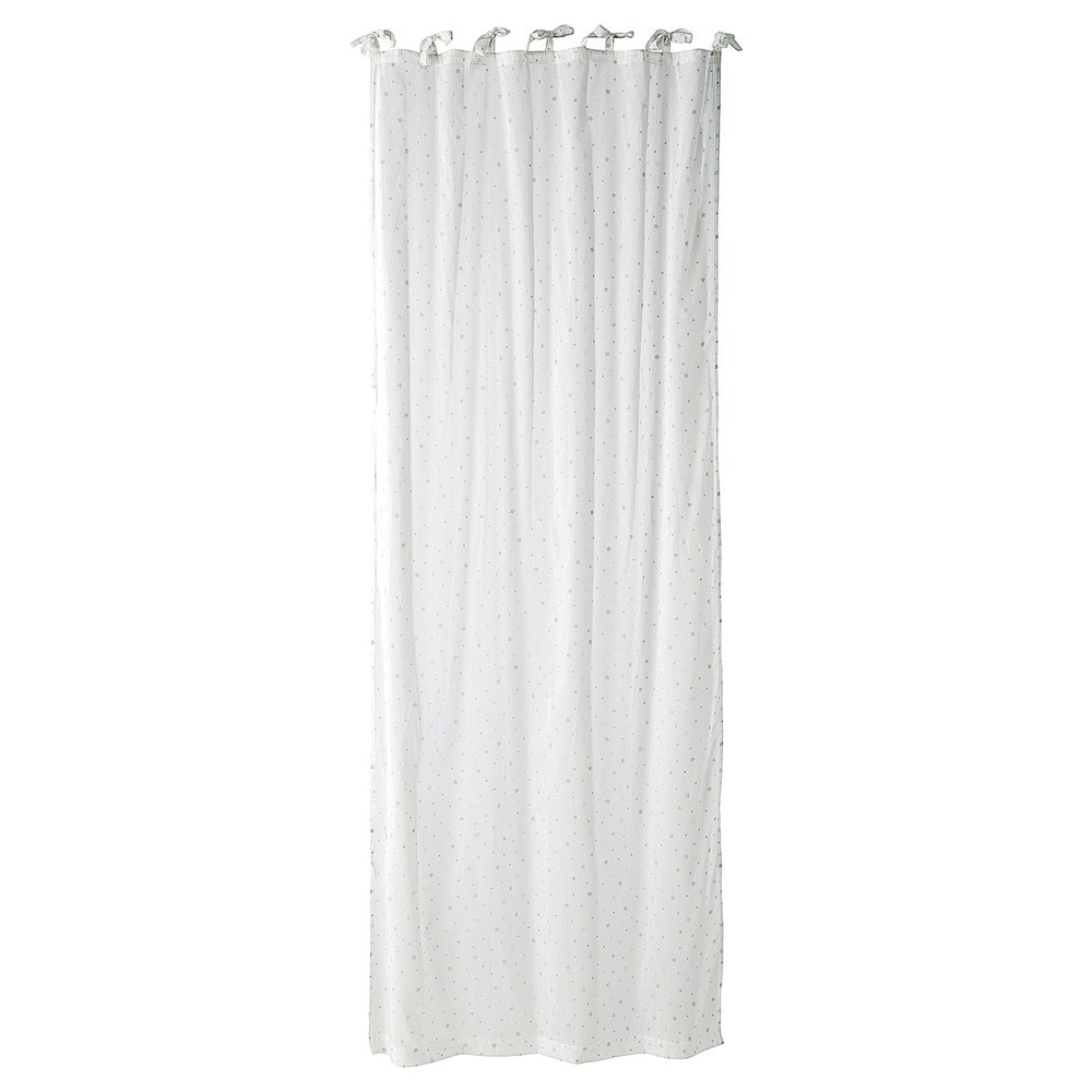 Cortina con lazos de algod n blanco 102 250 toile - Lazos para cortinas ...