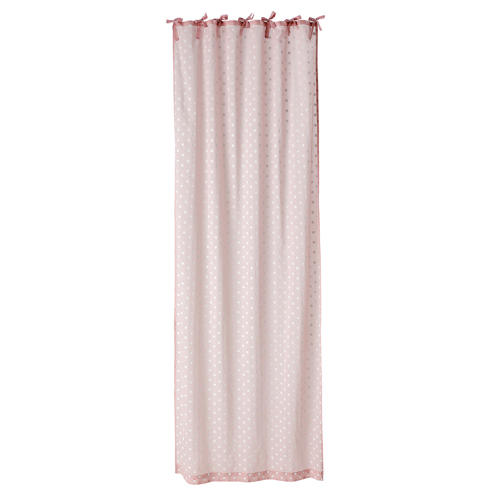 Cortina con lazos de lunares de algod n rosa 105 x 250 cm - Lazos para cortinas ...