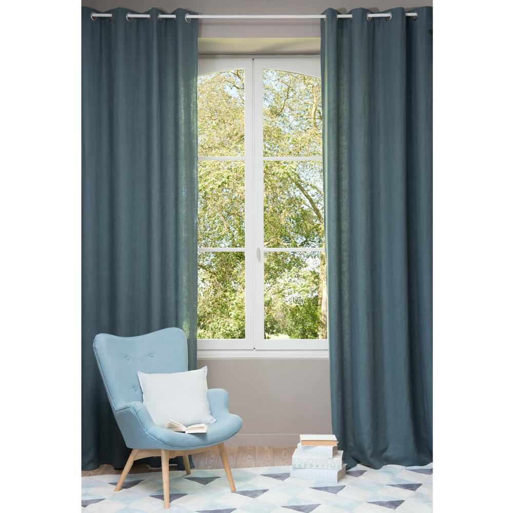 cortina con ojales de lino lavado azul petrleo cm
