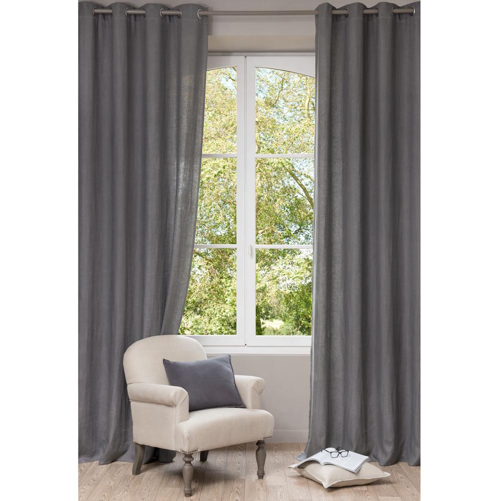 cortina con ojales de lino lavado gris 130 x 300 cm