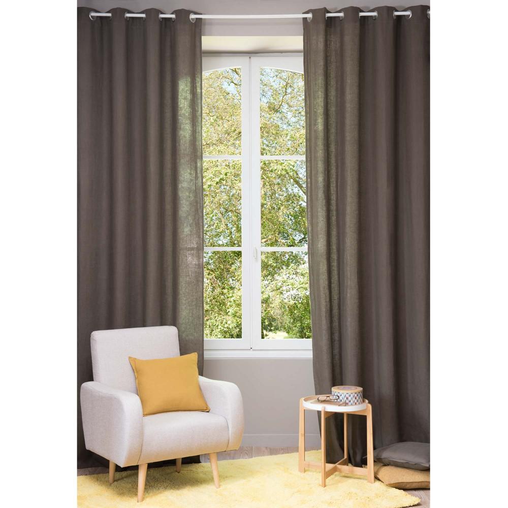 Cortina con ojales de lino lavado marr n 130 300 cm for Cortinas ojales baratas
