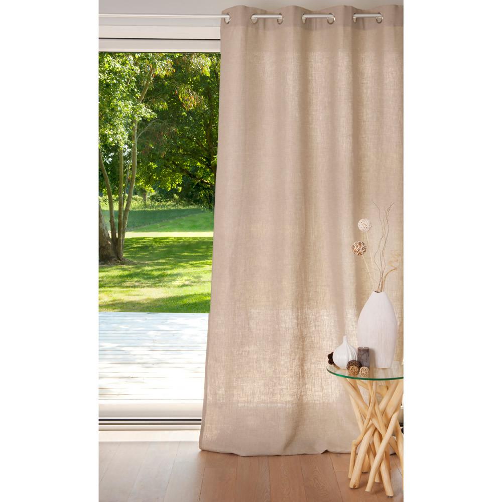 cortina con ojales de lino pesado beis 135 x 300 cm maisons du monde. Black Bedroom Furniture Sets. Home Design Ideas