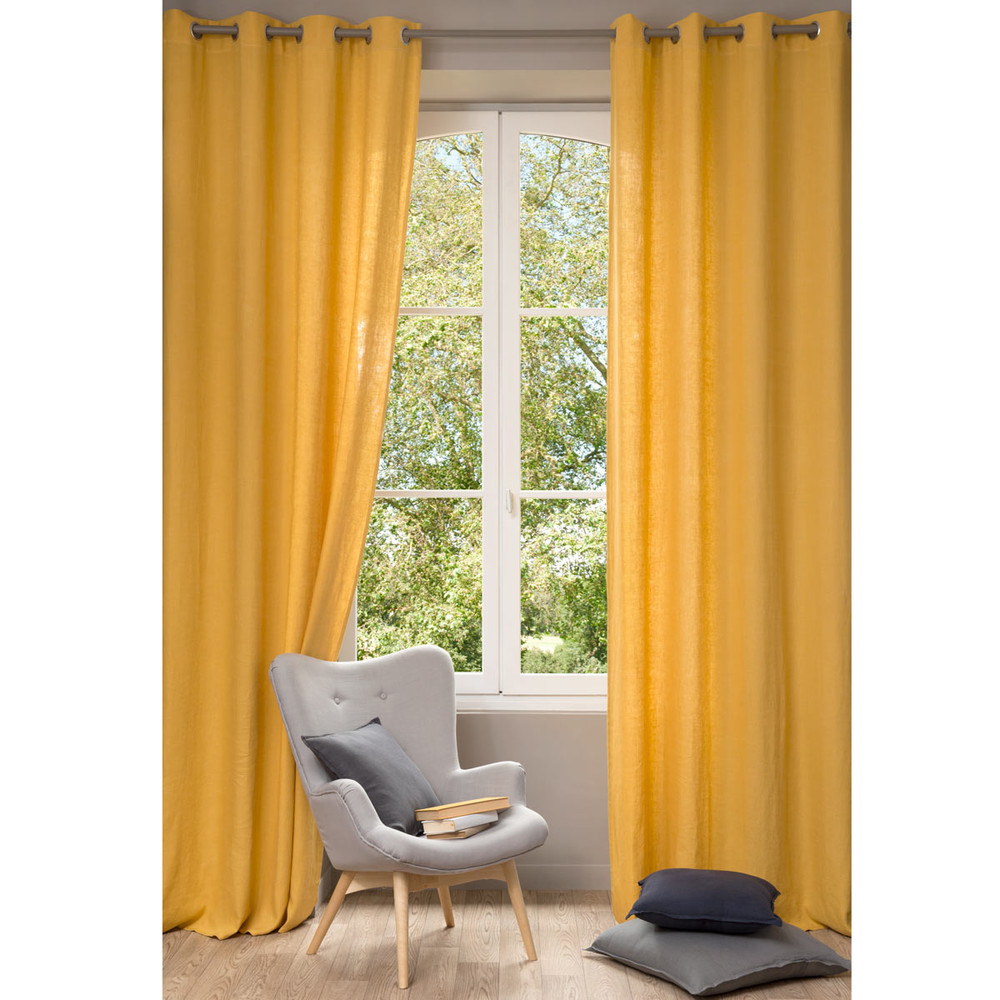 cortina de lino lavado amarillo x cm