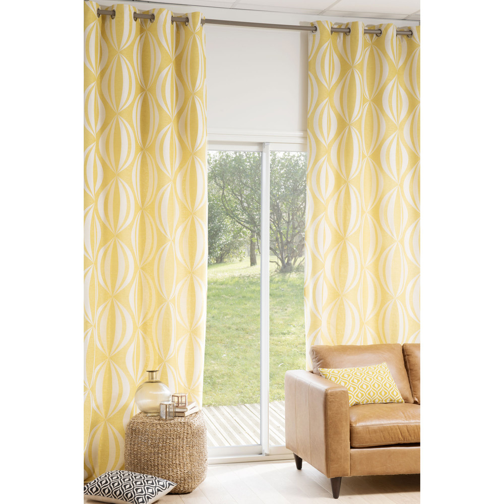 cortina de ojales amarilla blanca 140 300 cm hypnosis maisons du monde. Black Bedroom Furniture Sets. Home Design Ideas