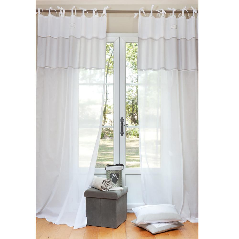Coton d 39 autrefois cotton tie top curtain in white 140 x for Autrefois decoration