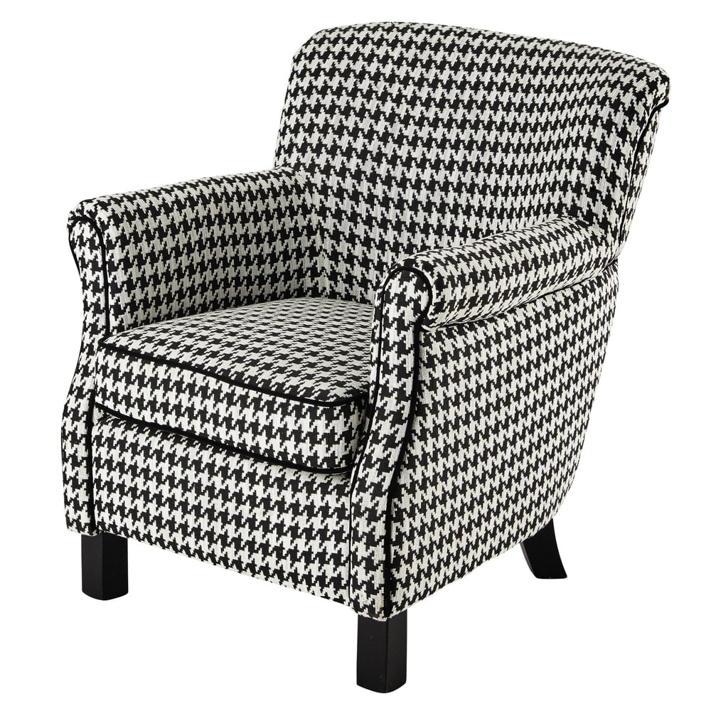 cotton armchair in black white houndstooth pattern coco maisons du monde. Black Bedroom Furniture Sets. Home Design Ideas