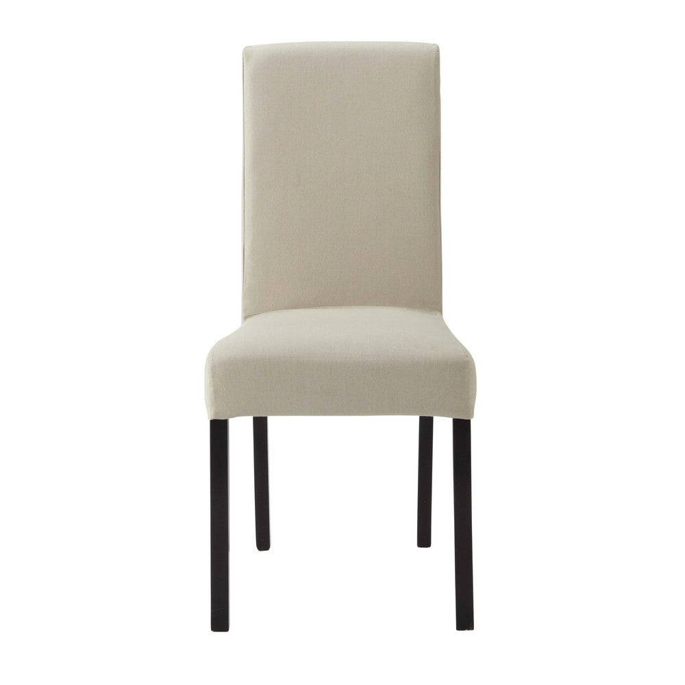 Cotton chair cover in putty margaux maisons du monde for Chaise maison du monde