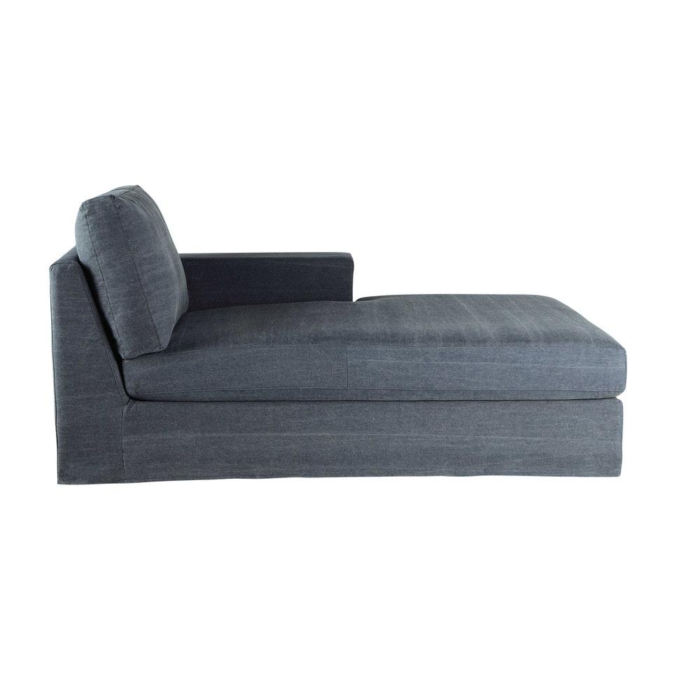 cotton chaise longue in bluish grey anvers maisons du monde