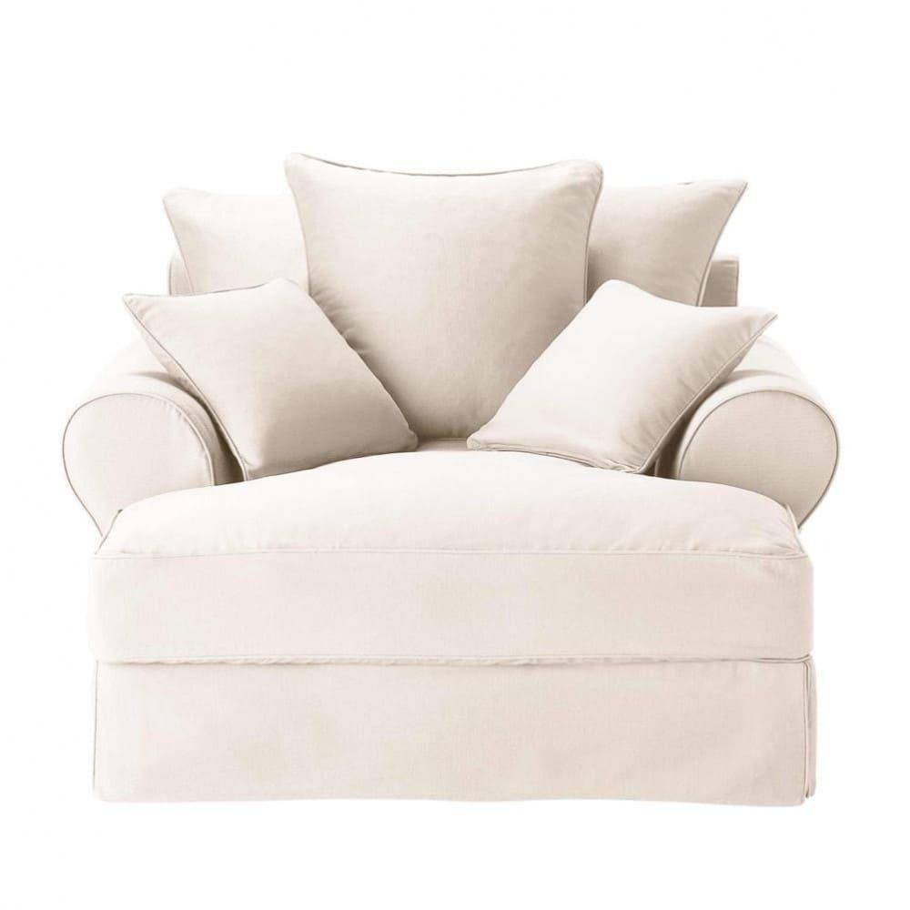 cotton chaise longue in ivory bastide maisons du monde. Black Bedroom Furniture Sets. Home Design Ideas