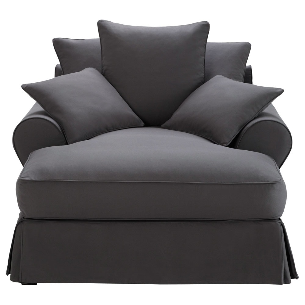 cotton chaise longue in slate grey bastide maisons du monde. Black Bedroom Furniture Sets. Home Design Ideas