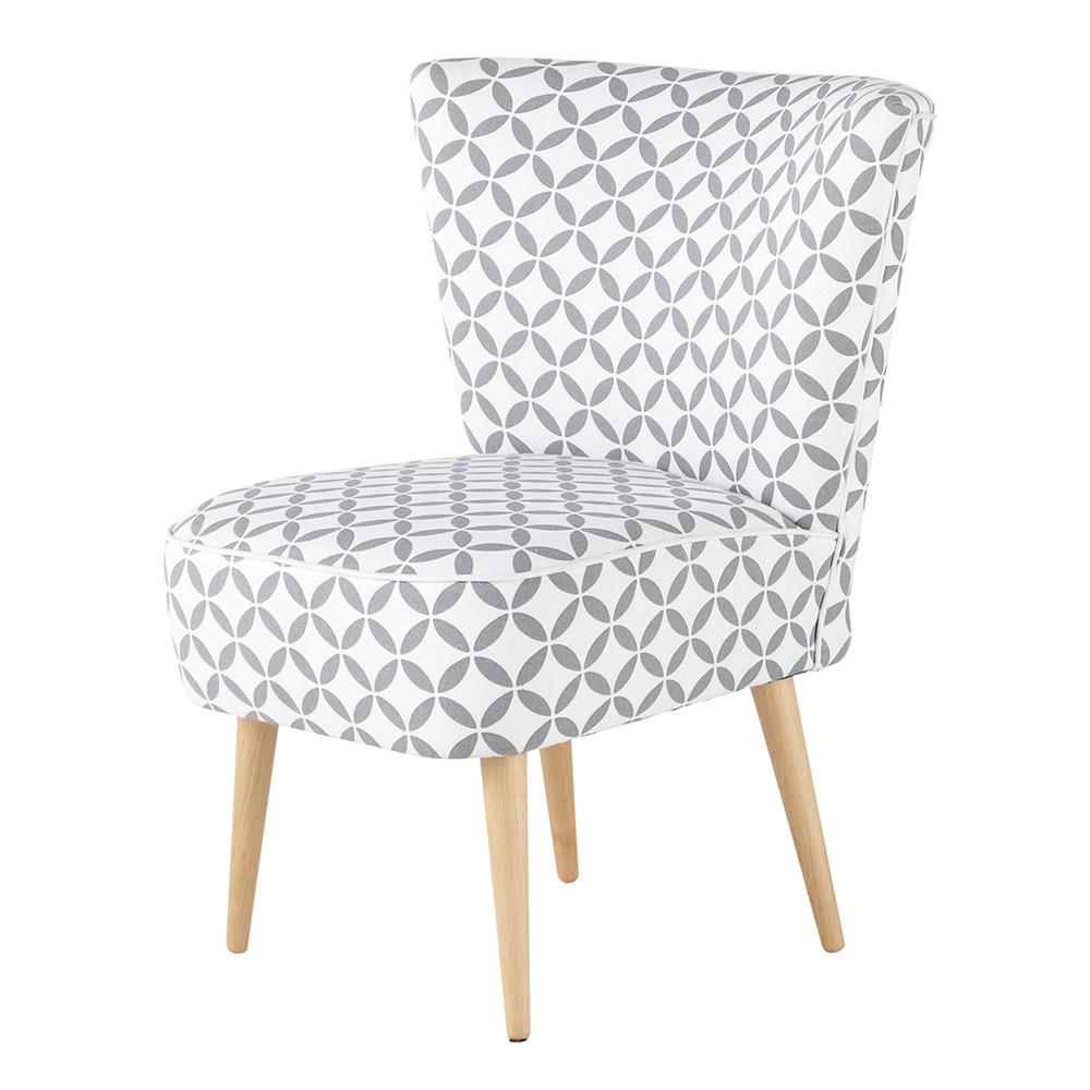 cotton patterned vintage armchair in grey and white scandinave maisons du monde. Black Bedroom Furniture Sets. Home Design Ideas