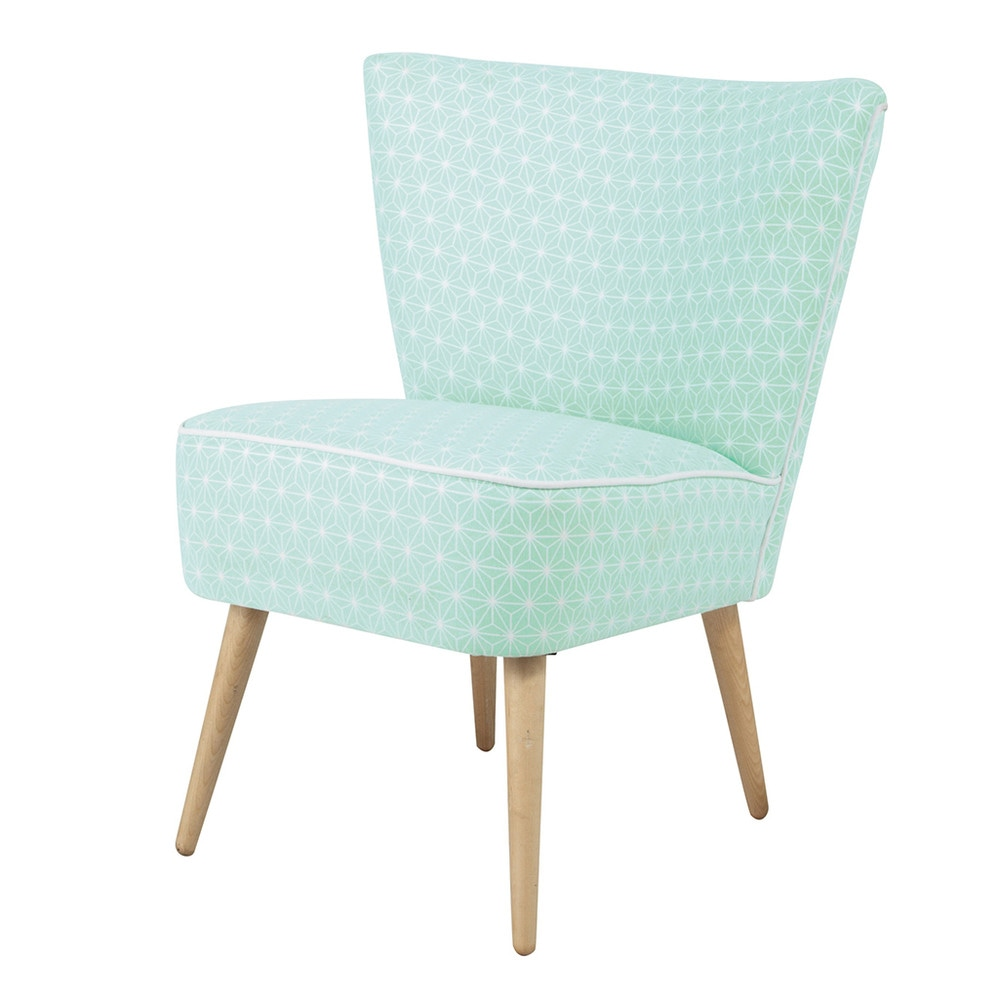 Cotton patterned vintage armchair in sea green scandinave - Sillones vintage retro ...