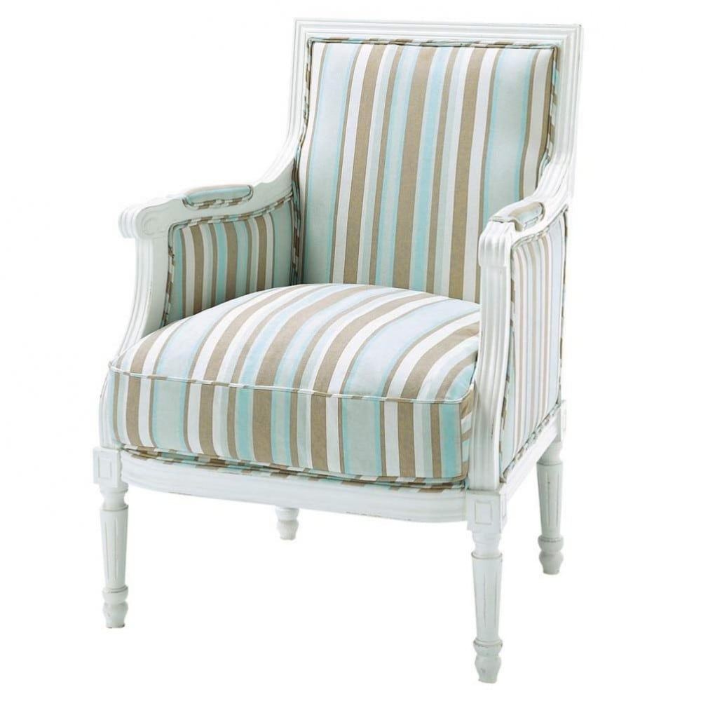 cotton striped armchair in blue and taupe casanova