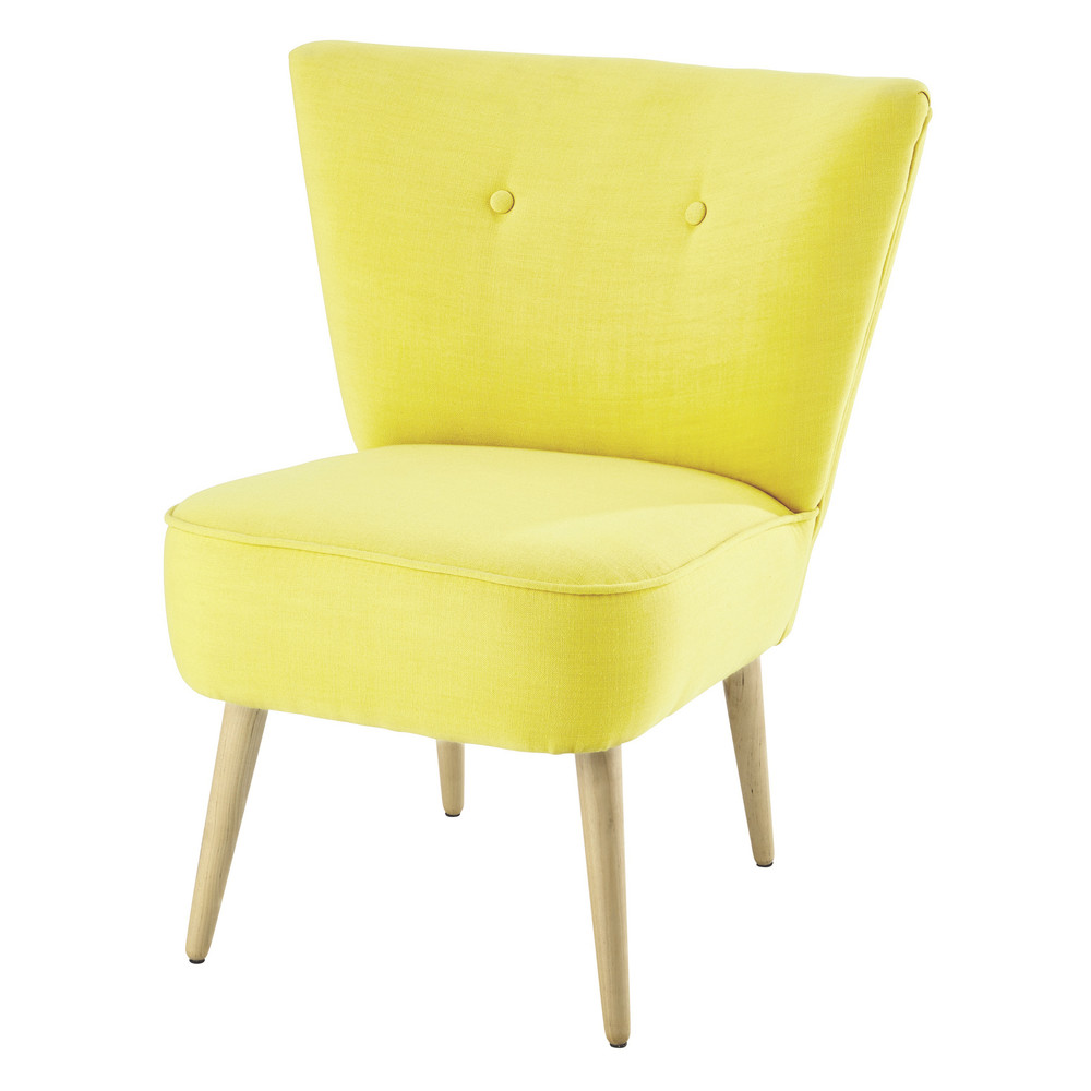 Cotton vintage armchair in yellow scandinave maisons du monde - Lit scandinave vintage ...