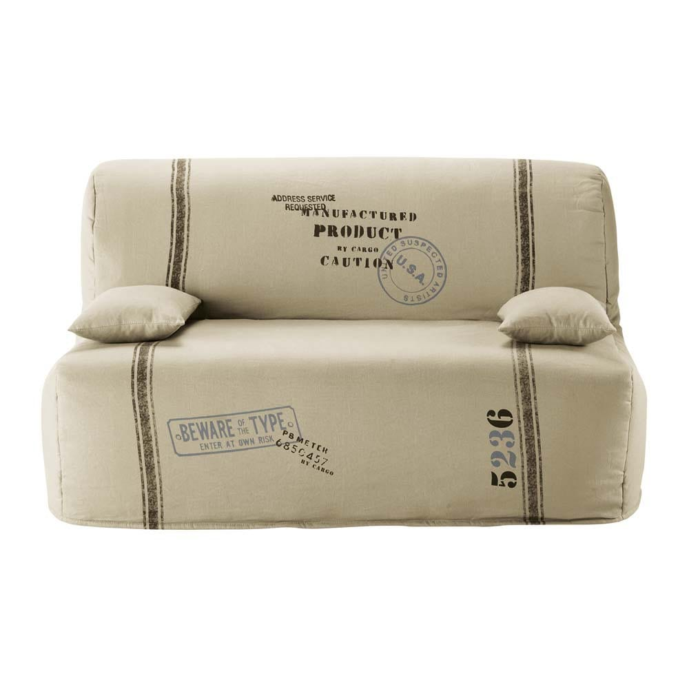 Cotton z bed sofa cover in beige elliot maisons du monde for Sofa bed 4 in 1