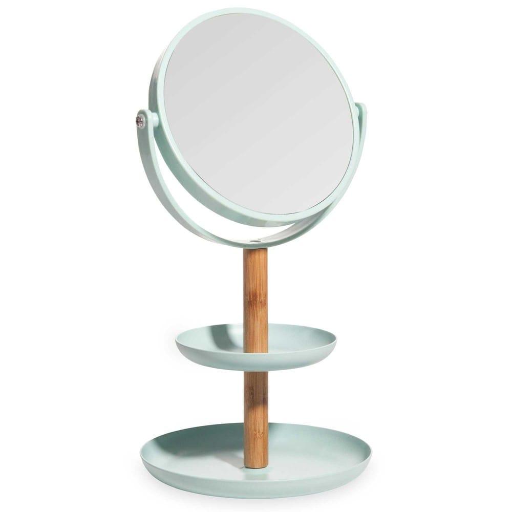 Coupe bijoux avec miroir en bambou et plastique bleu for Miroir en plastique