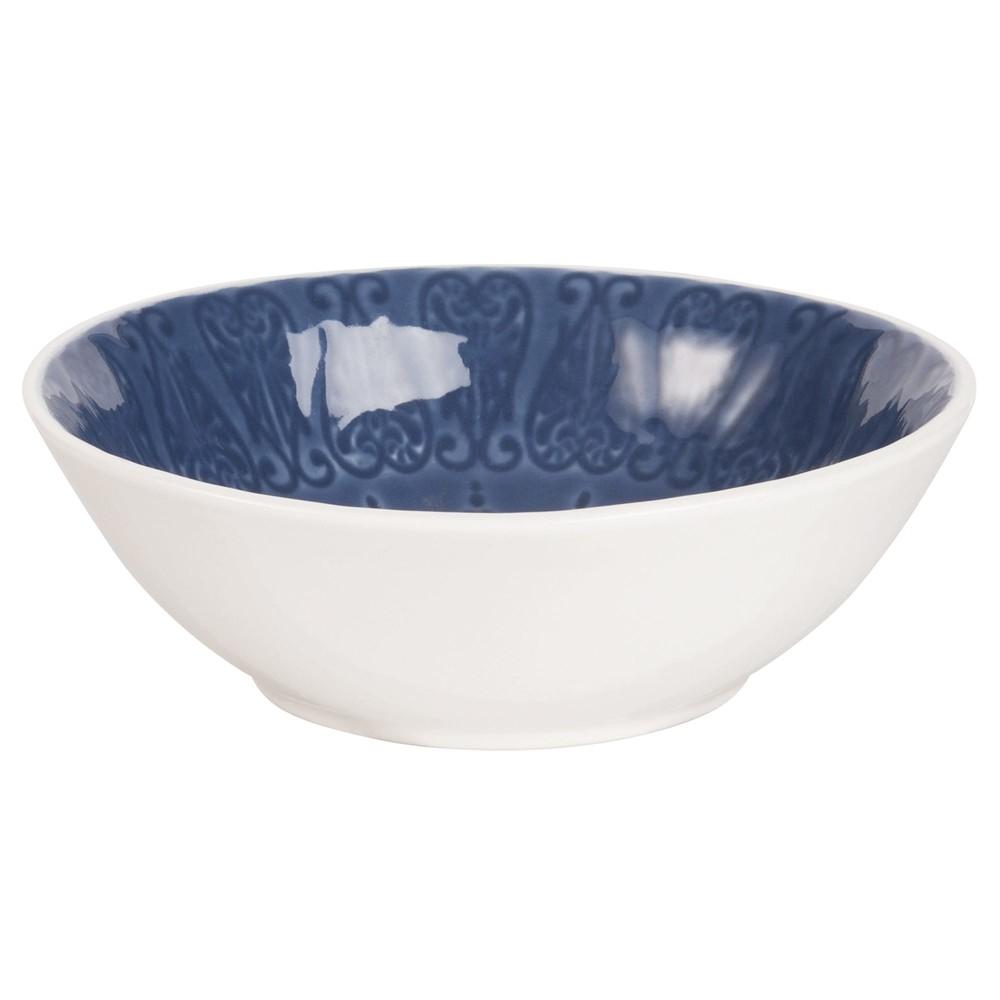 Coupelle en fa ence bleue maisons du monde for Baignoire faience bleue