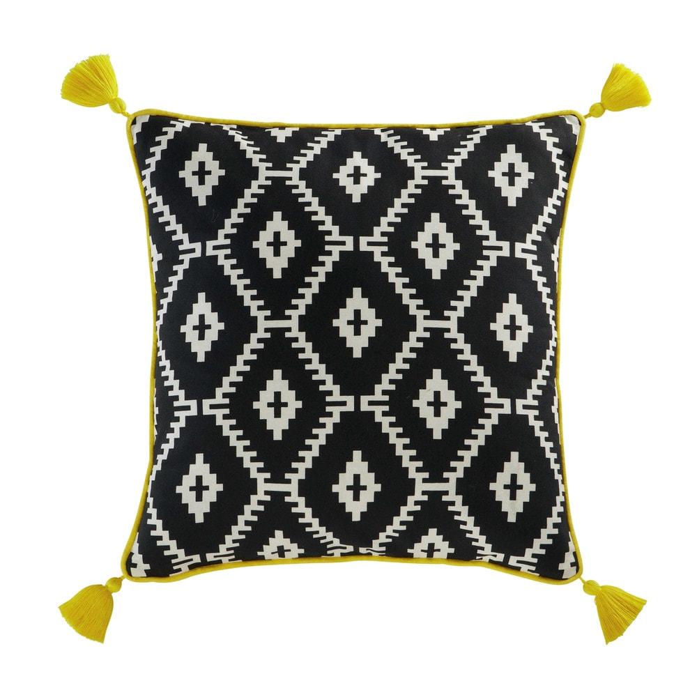 Coussin pompons en coton noir blanc 45 x 45 cm amrela - Housse de coussin noir et blanc ...