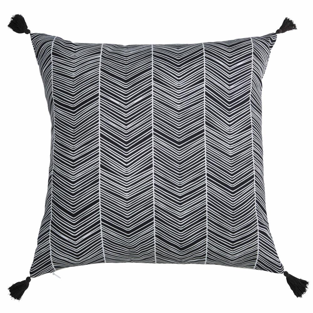 Coussin pompons en coton noir et blanc 45x45cm palaze - Coussin ethnique noir et blanc ...