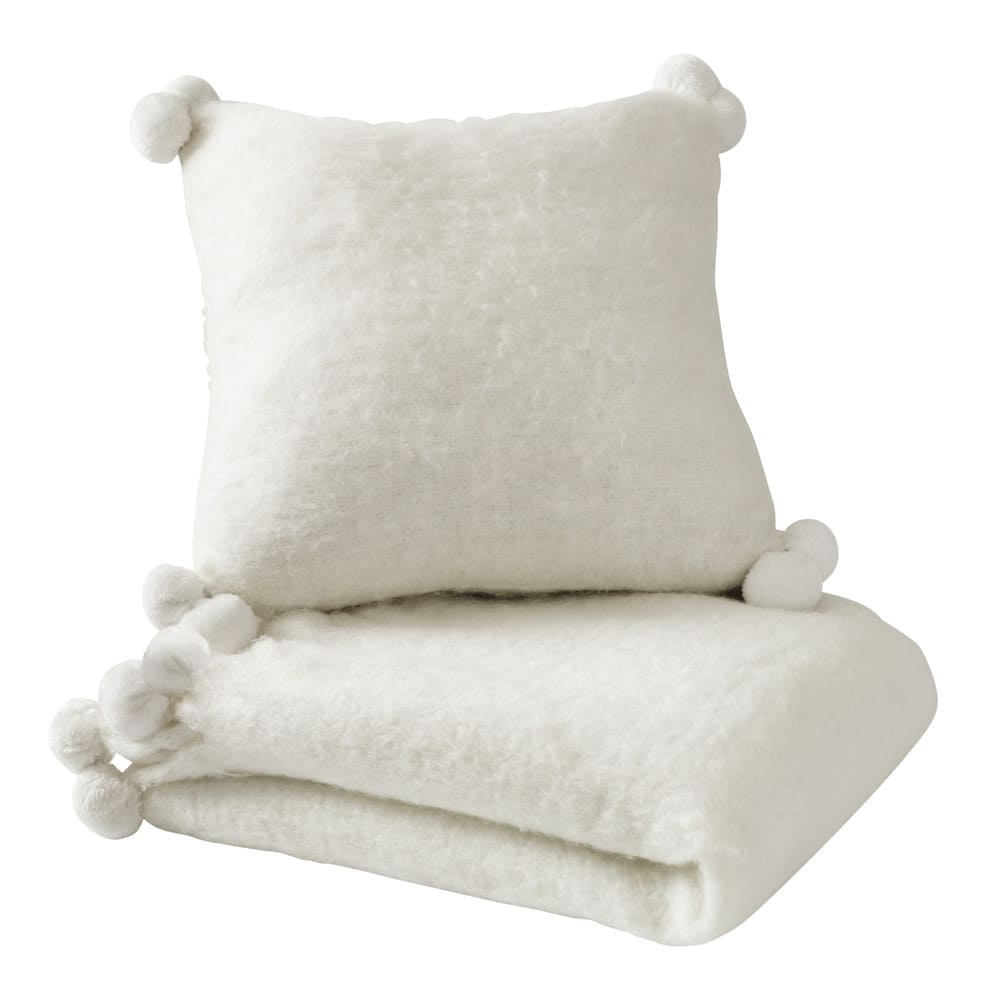 coussin pompons en laine blanc 45 x 45 cm pompone maisons du monde. Black Bedroom Furniture Sets. Home Design Ideas