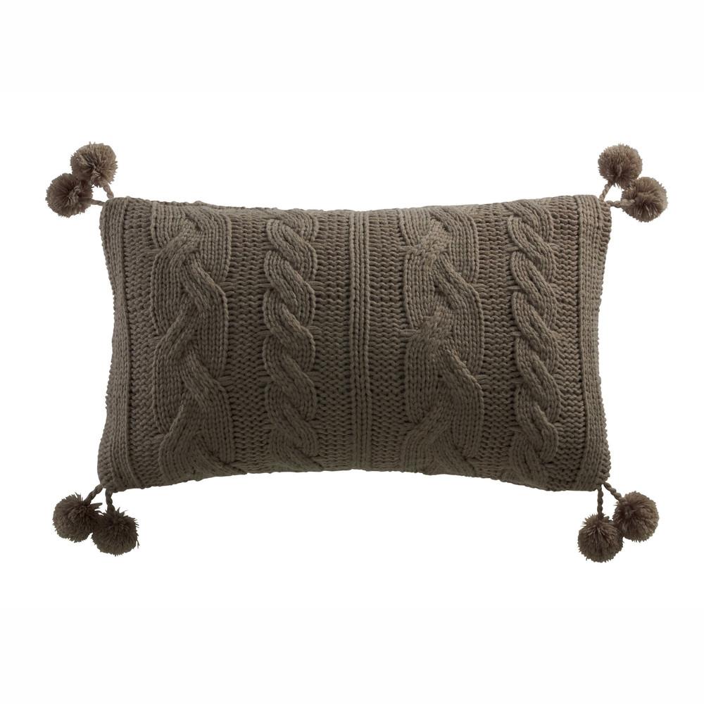 coussin pompons en tissu tricot 30 x 50 cm maisons du. Black Bedroom Furniture Sets. Home Design Ideas