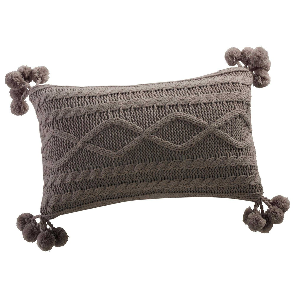 coussin pompons tricot gris 30 x 50 cm spacer maisons du monde. Black Bedroom Furniture Sets. Home Design Ideas
