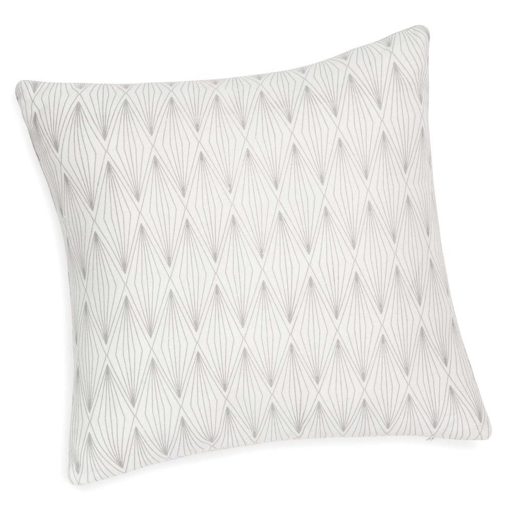 coussin blanc gris 40 x 40 cm ida maisons du monde. Black Bedroom Furniture Sets. Home Design Ideas