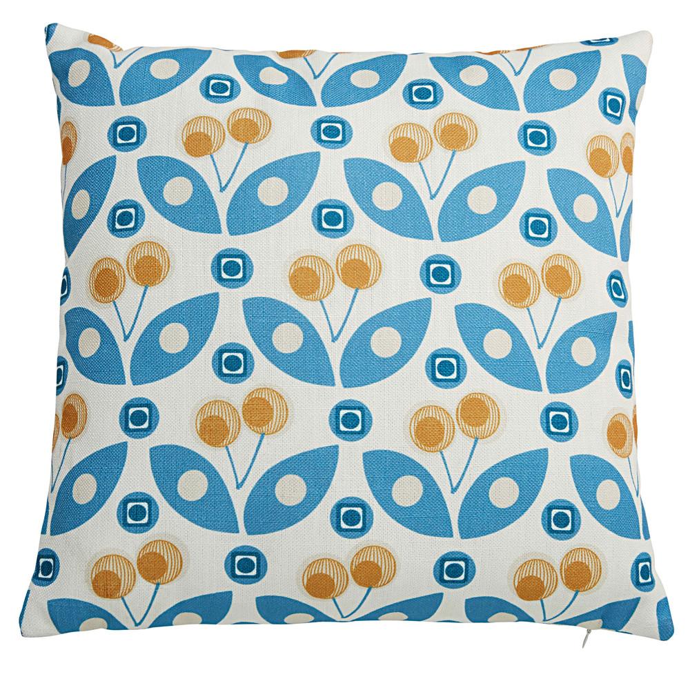 coussin blanc motifs bleus et jaunes 45x45cm gysele. Black Bedroom Furniture Sets. Home Design Ideas