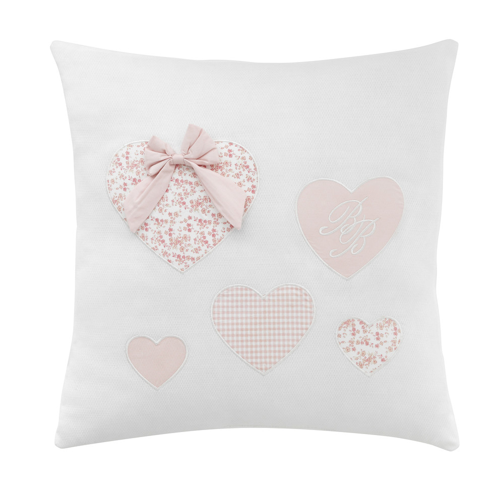 coussin c urs en coton blanc rose 40 x 40 cm victorine. Black Bedroom Furniture Sets. Home Design Ideas