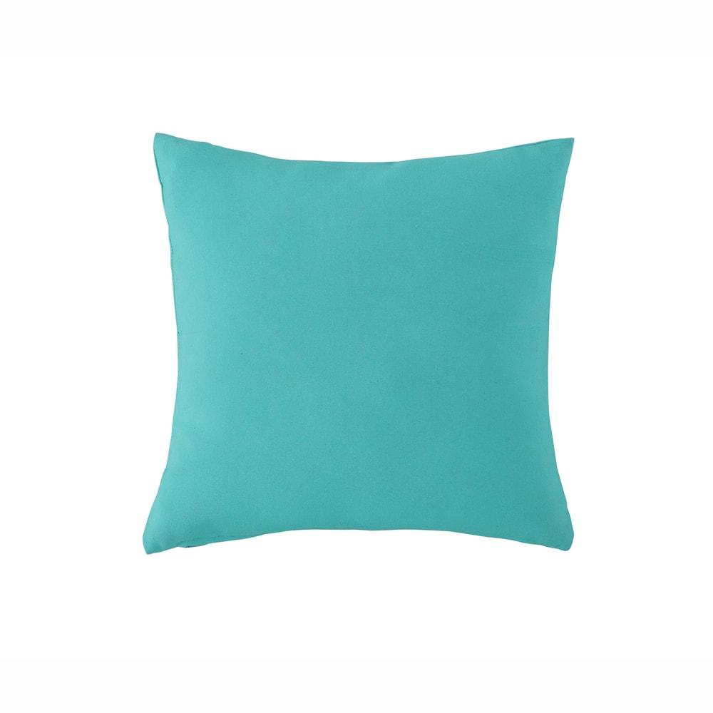 coussin d 39 ext rieur bleu turquoise 40 x 40 cm maisons du monde. Black Bedroom Furniture Sets. Home Design Ideas