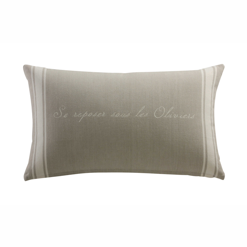 coussin d 39 ext rieur en coton beige 30 x 50 cm oliviers maisons du monde. Black Bedroom Furniture Sets. Home Design Ideas