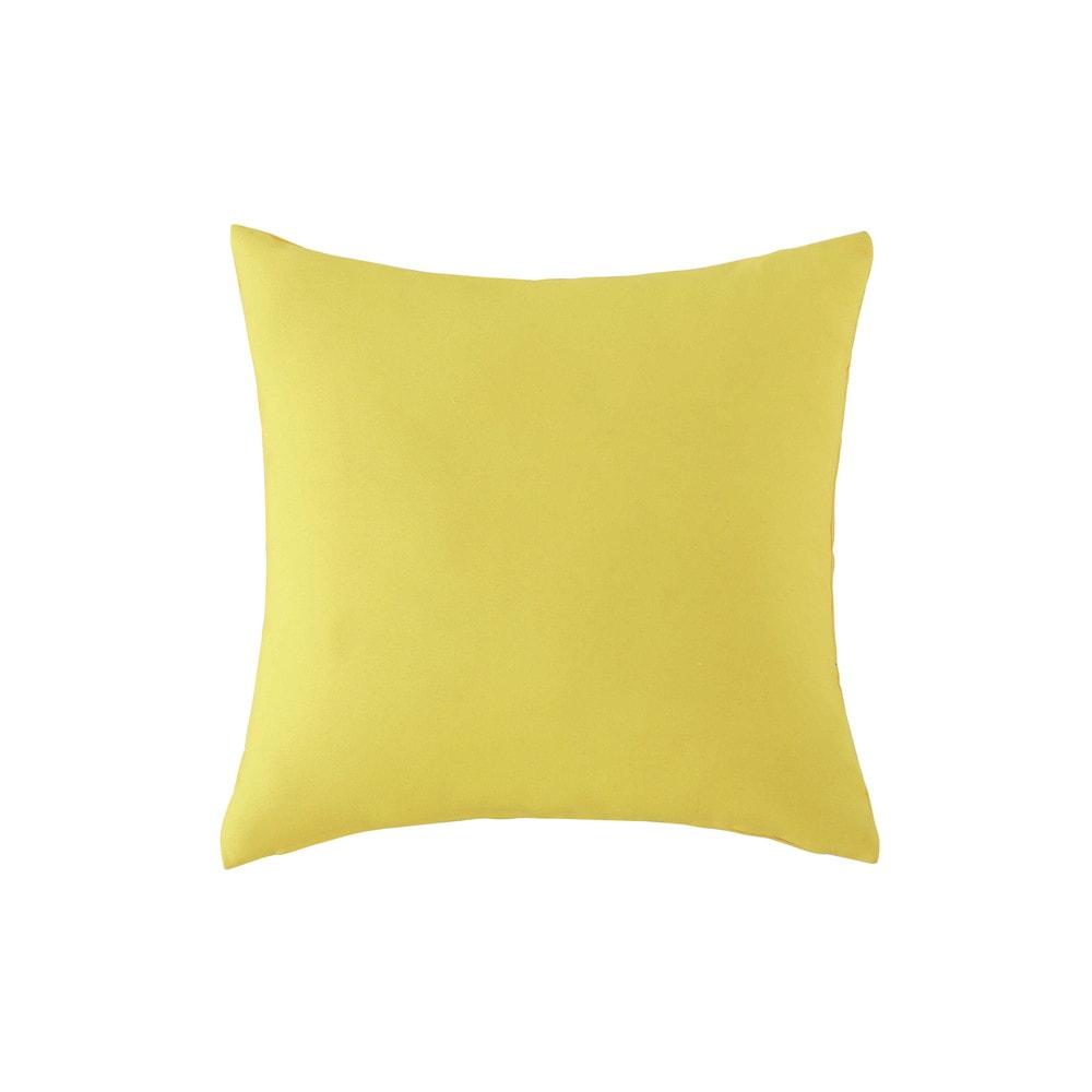Coussin d 39 ext rieur jaune 40 x 40 cm maisons du monde for Coussin jaune heytens