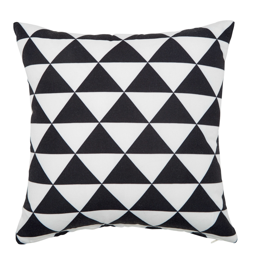 coussin d 39 ext rieur noir blanc 40 x 40 cm labrit maisons du monde. Black Bedroom Furniture Sets. Home Design Ideas